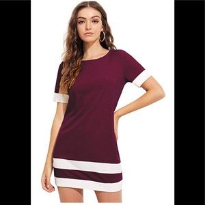 Purple patchwork short sleeve dress